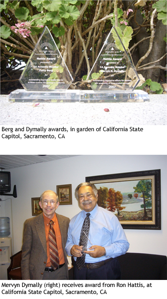 Berg and Dymally awards, in garden of California State Capitol, Sacramento, CA. Mervyn Dymally (right) receives award from Ron Hattis, at California State Capitol, Sacramento, CA.